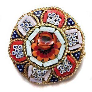 Vintage 30s Italian Micro Mosaic Round Brooch Pin